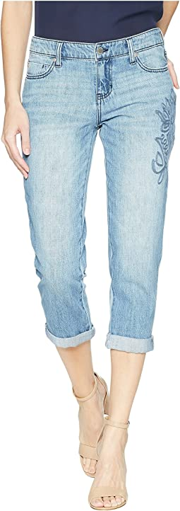 Liverpool Petite Cameron Relaxed Crop Boyfriend in a Classic Soft Rigid Denim in Skyline