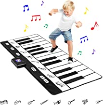 Best Choice Products 71-Inch Vinyl 24-Key Keyboard Playmat w/ 8 Settings and Recorder, Black/White