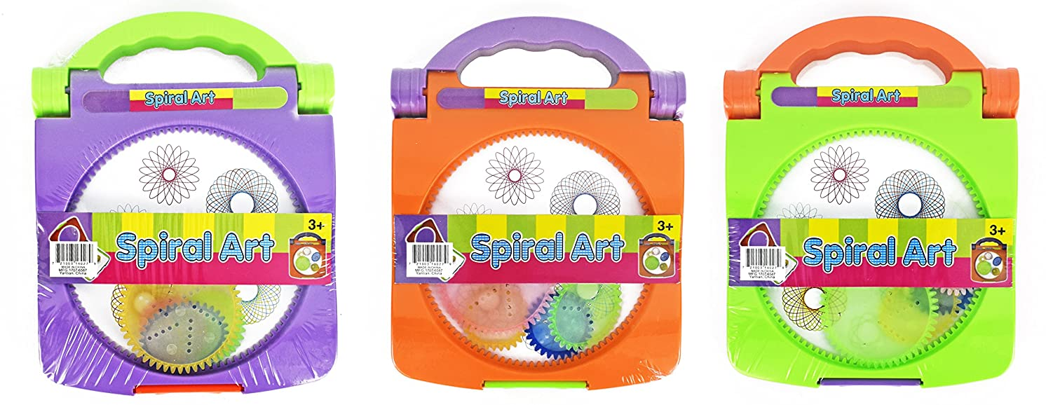 Set of 3 Portable Spiral Art Set for Kids - Set Features 4 Spiral Wheels, Compartment for Storing Spiral Wheels and Drawing Utensils, Handle for Easy Carrying - Spiral Art Kit Measures 7.5