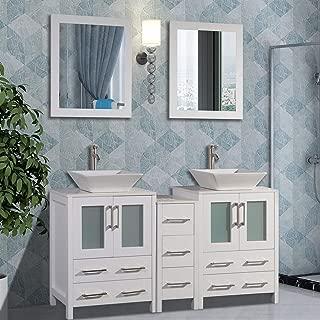 Vanity Art 60 inch Double Sink Bathroom Vanity Combo Set 7-Drawers, 2-Shelf, 3 Cabinet White Quartz Top and Ceramic Vessel Sink Bathroom Cabinet with Free Mirror - VA3124-60W