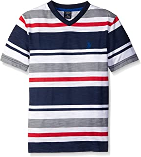 U.S. Polo Assn. Boys' Engineered Stripe V-Neck T-Shirt