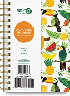 $22 » 2020-2021 Academic Planner -Yearly Monthly Weekly Daily Calendar Organizer by Bright Day Spiral Bound Dated Agenda Flexibl...