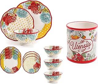 The Pioneer Woman Country Garden Utensil Crock Bundle with The Pioneer Woman 12-Piece Dinnerware Set