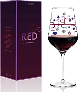 Ritzenhoff Red Wine Glass by Crystal Glass Pietro Chiera, 20-1/4oz, Includes Beautiful Platinum Throw