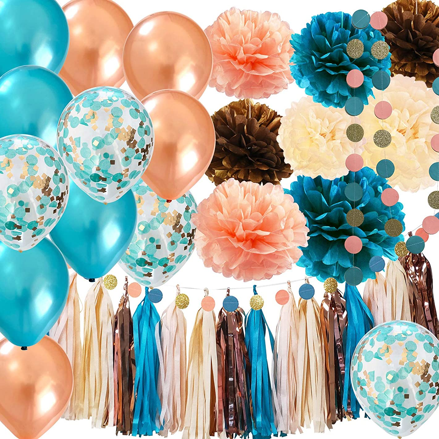 Teal Champagne Bridal Shower Decorations Qian's Party Teal Rose Gold Champagne Peach Glitter Gold Birthday Decorations Wedding/Teal Rose Gold Confetti Ballons/Rose Gold Bachelorette Party Decorations
