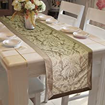 "Lushomes Natural Pattern 3 Jacquard Table Runner with Polyester Border (Size: 16""x72""), Single Piece"