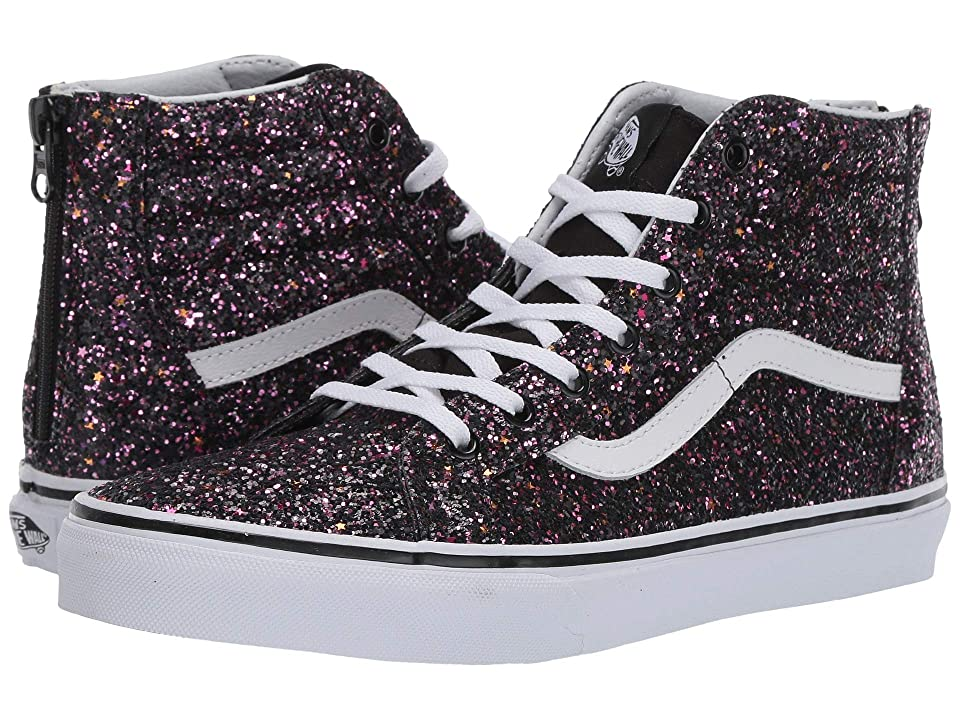 Vans Kids Sk8-Hi Zip (Little Kid/Big Kid) ((Glitter Stars) Black/True White) Girls Shoes