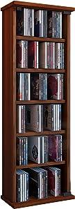 VCM Shelf Cabinet Storage Unit CD DVD Media Furniture Stand Tower Wood Glass Door Vetro Beech Wood