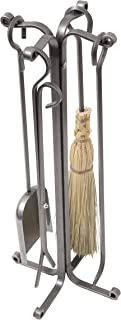 Enclume 4 Piece Rolled Eye Fireplace Tool Set with Stand, Hammered Steel