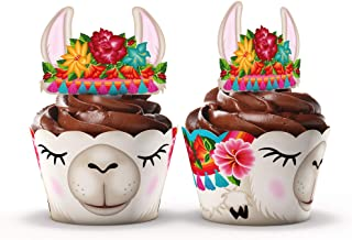 Llama Party Supplies Cupcake Toppers and Wrappers - Set of 24 - Fiesta party supplies (Llama)