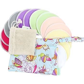 Bamboo Nursing Pads (14 Pack)+Laundry Bag & Travel Bag,2 Sizes:3.9/4.7inch Option - Washable & Reusable Nursing Pads(Passion, Large, Daytime Use)