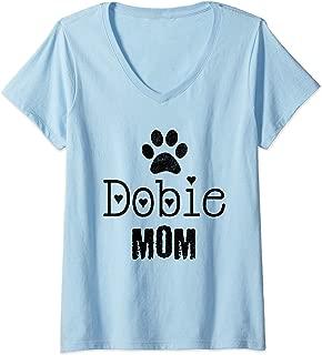 Womens Dobie Mom, Doberman Pinscher V-Neck T-Shirt