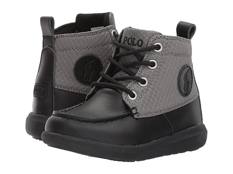 180d602a8 Polo Ralph Lauren Kids Ranger Sport (Toddler Little Kid) (Black Burnished  Leather w Grey Textured Nylon) Boy s Shoes