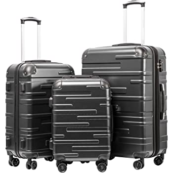 "Coolife Luggage Expandable(only 28"") Suitcase 3 Piece Set with TSA Lock Spinner 20in24in28in (reg grey)"