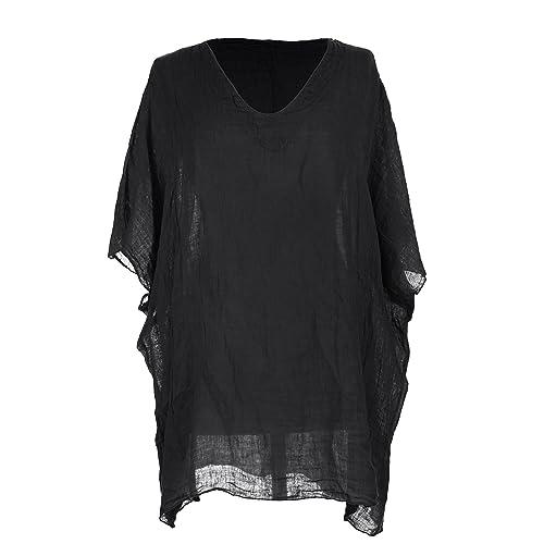 61e3ae34c00 TEXTURE Ladies Womens Italian Lagenlook V Neck Batwing Sleeve Linen Short  Kaftan Tunic Top Blouse One
