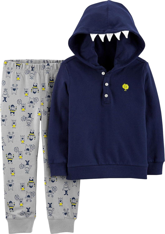 Carter's Baby Boys' Hood Art 2-Piece Sweatsuit Pants Set - Navy, 6 Months