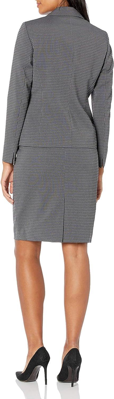 LeSuit Womens Linear Dot Jacquard 2 Button Notch Collar Skirt Suit