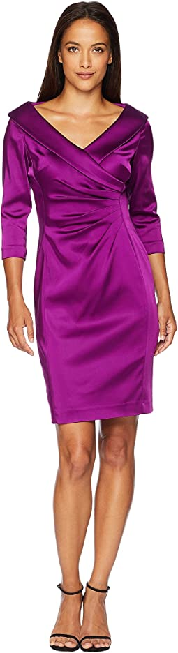 Petite Sleeved Portrait Collar Satin Dress