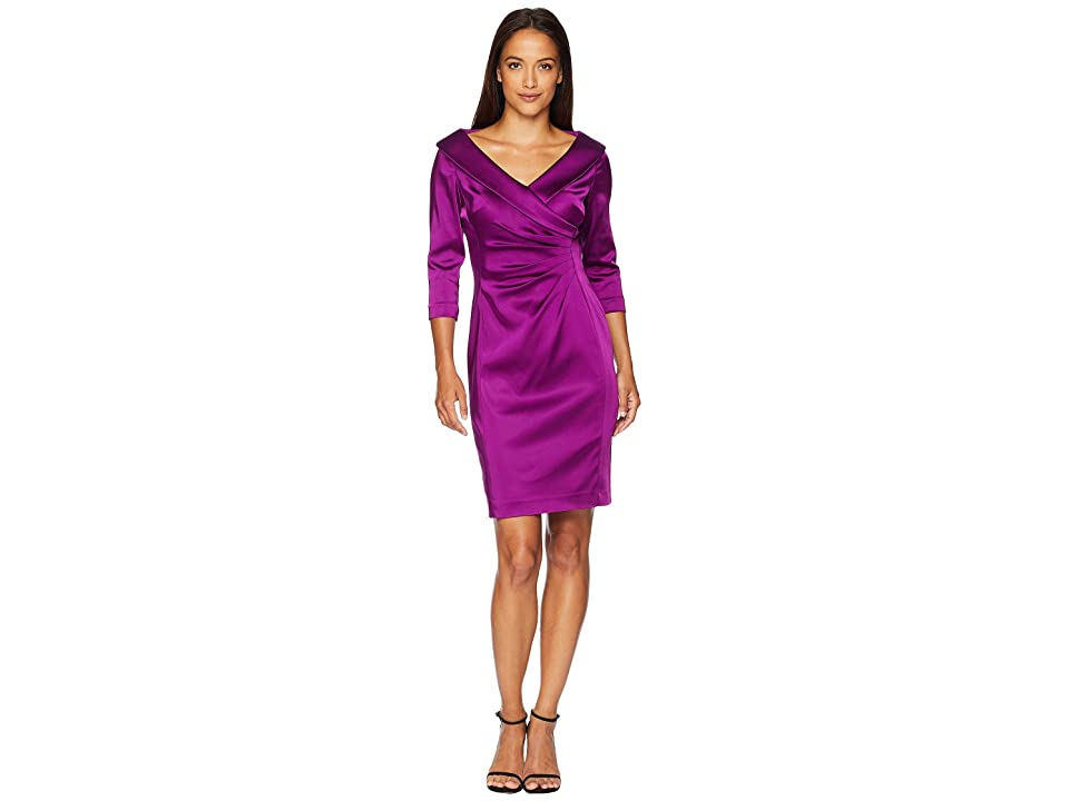 Tahari by ASL Petite Sleeved Portrait Collar Satin Dress (Currant Red) Women