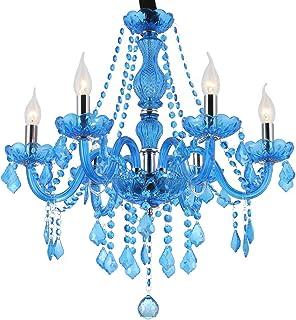 Araña De Cristal Azul Lámpara De Techo De Vaso De Vela Comedor Restaurante Lámpara Colgante Cafetería Bar Colgante Luz Candelabro Iluminación 6 Luces
