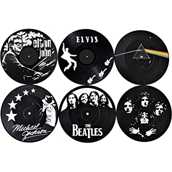 Our Casa Vinyl Record Coasters for Drinks | Home Decor Music Record Drink Coasters Set. Housewarming, Living Room Decoration Gift 6 Piece Set of 4 Inch Retro Record Disk Coasters Rock and Roll Design