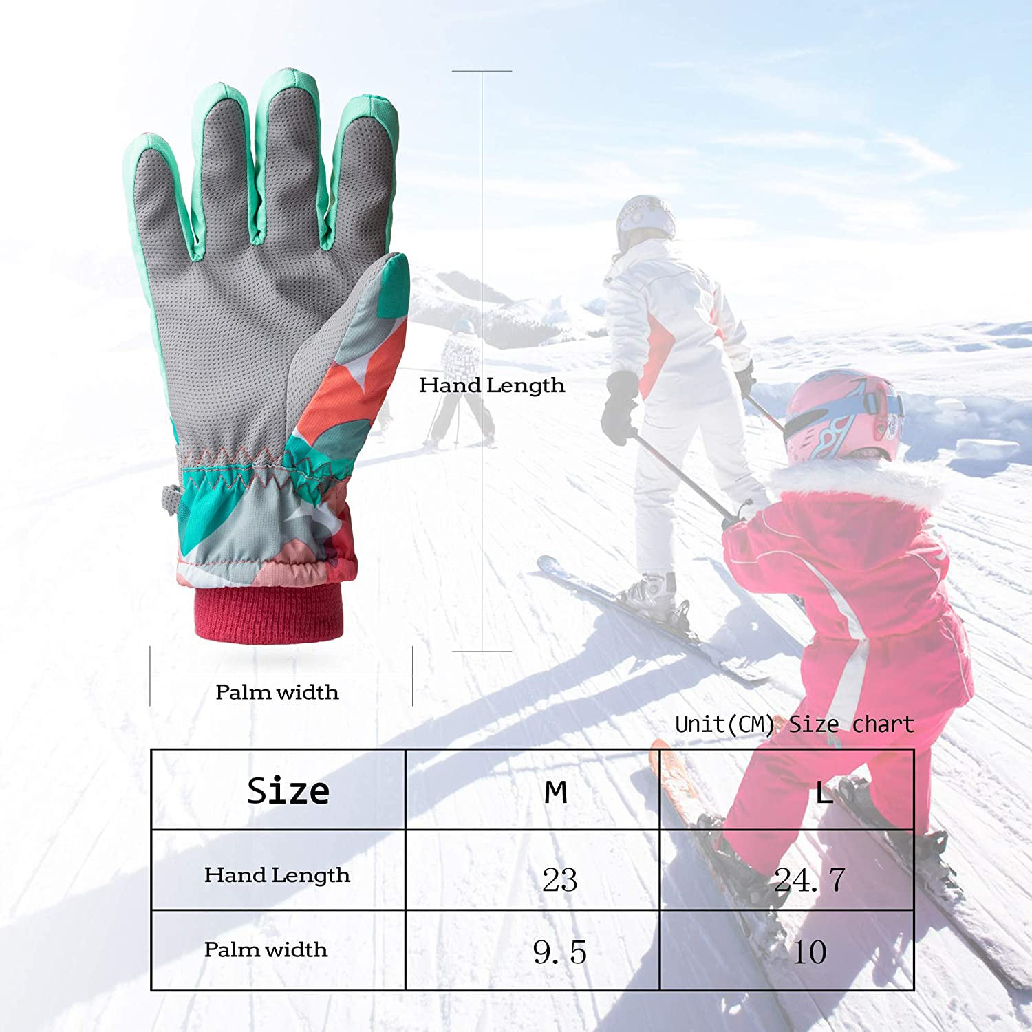 Tofern Kids Winter Gloves Windproof Insulation Warm Cute Snow Mittens Water Repellent Ski Skateboard for Boys and Girls