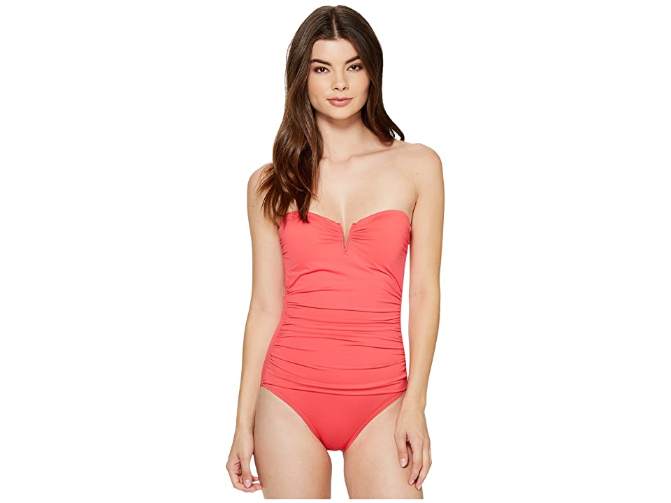 Tommy Bahama Pearl V-Front Bandeau One-Piece Swimsuit (Calypso Pink) Women