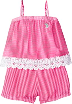Neon & White Stripe Chiffon Romper (Little Kids)