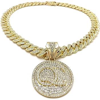 BLINGFACTORY Hip Hop Iced White Gold Plated Slatt Pendant /& 16 18 20 Rhinestone Chain Bling Necklace Slime Love All The Time