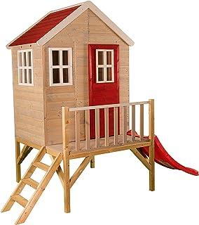 Niños casa de Juguete en Platform   Niños Madera Parte Jardín Casa con Ventanas, Escalera