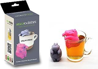 HelpCuisine infusor de te/infusionador/colador te/filtro te/infusores de te, hecho de silicona 100% alimentaria libre de BPA, infusor en forma de Hipopótamo, (Juego de 2pcs + caja de regalo)
