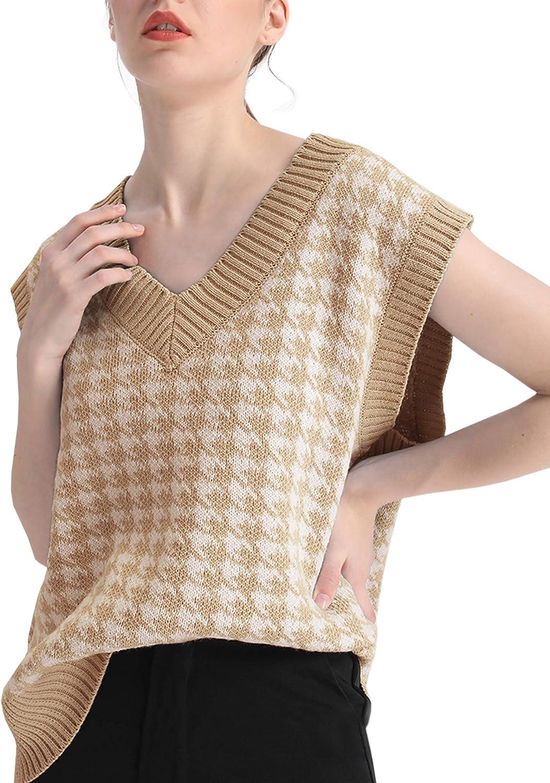 MISSACTIVER Women Houndstooth Knitted Sweater Vest V Neck Casual Loose Oversized Vintage Pullover Tops
