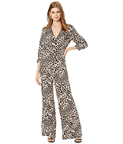 BCBGMAXAZRIA Long Sleeve Printed Jumpsuit (Neutral/Classic Leopard) Women