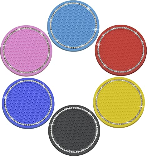 lowest Car online Coasters for Cup Holders,Cute Drinks Absorbent Coasters,Anti Slip Mat online Insert Accessories for Women&Lady,2.75 Inch Silicone Bling Crystal Rhinestone for Most Car,6PCS (Amazing 6 Colors) online sale