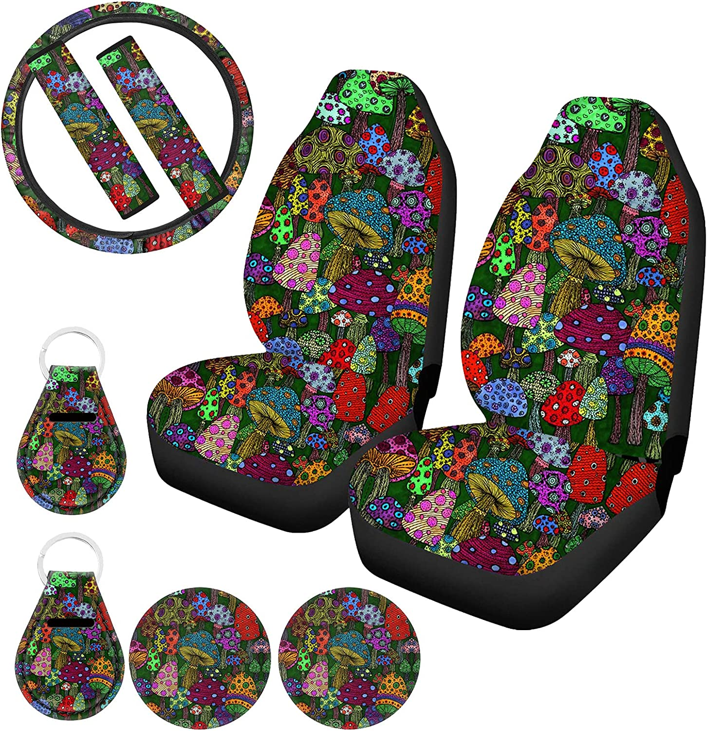 Xhuibop Cartoon Mushroom Cheap mail OFFicial store order sales Car Seat Covers Steerin Full Pack 9 Set