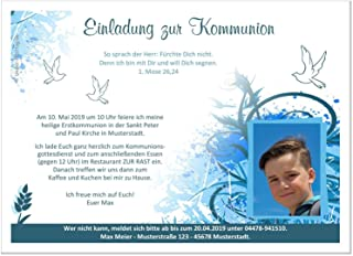 Kommunionseinladungen süß ausgefallen, für für für Jungen, mit Foto (auch ohne) und Spruch - Menge 60, Format 21 x 14,8 cm B079NNN6YK  Kaufen Sie online 987c14