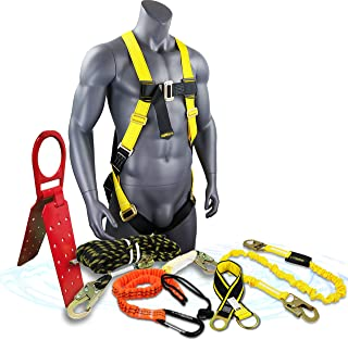 KwikSafety (Charlotte, NC) TSUNAMI BUNDLE 100 ft. Vertical Lifeline Rope, 1D Safety Harness, Tool Lanyard, Roof Anchor External Shock Absorber ANSI OSHA Fall Arrest Restraint Protection Equipment