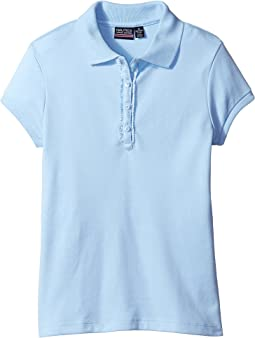 Short Sleeve Polo with Ruffle Placket (Big Kids)