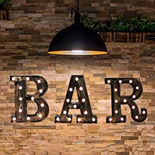 Vintage LED Marquee Letter Lights Light Up Industrial 26 Alphabet Name Signs Bar Cafe Initials Decor for Birthday Party Christmas Wedding Events