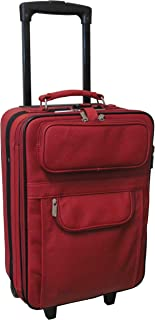 Leather 22-inch Expandable Wheeled Luggage Red Solid