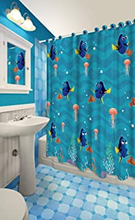 Disney All New Fabric Shower Curtain Set with 12 Matching Hooks (Finding Dory)