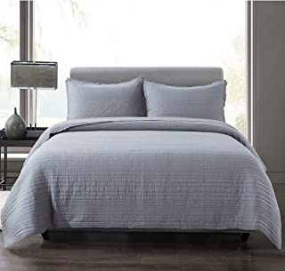 Soul & Lane Modern Rows Cotton 3-Piece Bedding Quilt Set - King with 2 Shams   Charcoal Grey Solid Stripes Quilted Bedspread