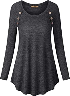Miusey Women's Long Sleeve Scoop Neck Button Tunic Sweatshirts Loose Tee Shirts