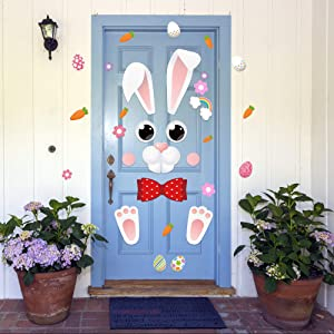 Happy Easter Bunny Door Decor Cute Bunny Colorful Eggs Flower Stickers Decoration for Easter Party Decor Home Kitchen Door Cabinet Refrigerator Door Wall Window Decor