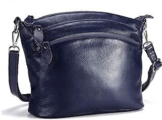 Lecxci Genuine Leather Cross Body Purses Zipper Wallets Shoulder Bags for Women