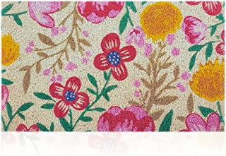 """Floral Welcome Mat Colorful Indoor Outdoor Doormat Large 24""""x36"""" Non Slip Backing Quick Catch Dirt Waterproof Easy Clean H..."""