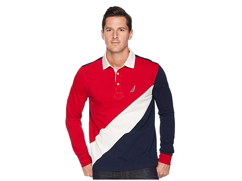 Nautica Mens Big and Tall Long Sleeve Classic Fit Pieced Souvenir Polo Shirt