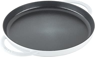 """STAUB Round Double Handle Pure Griddle, 12"""", White"""