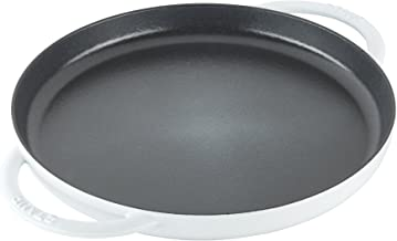 """STAUB 12293002 Round Double Handle Pure Griddle, 12"""", White"""