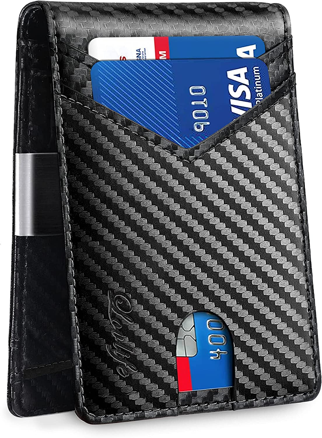 Lovlife Mens Slim Wallet with Money Clip Larger Capacity Up To 12 Cards RFID Blocking Front Pocket Wallet for Men with ID Window